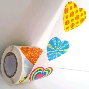 """🆕 200 Multicolored Heart Stickers 8 Designs 1.5"""""""